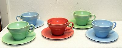 Vintage California Pacific Pottery Lot 5 Cups 5 Saucers 3 Colors