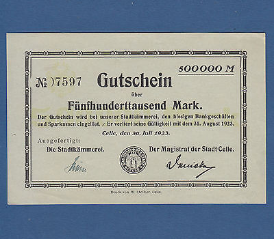CELLE 500.000 Mark 1923 fast KASSENFRISCH / aUNC