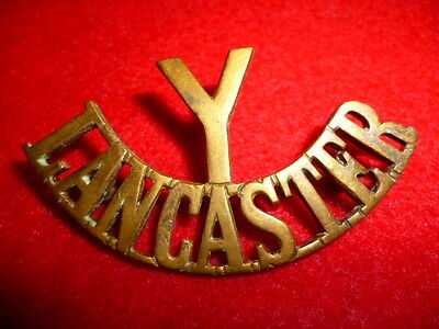 The Y/Lancaster Yeomanry Brass Shoulder Title Badge, WW1 British