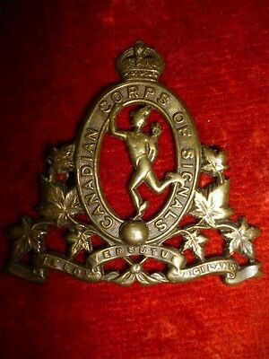 The Canadian Corps of Signals OR's 1919 Cap Badge KC - Canada WW2, Mazeas S4