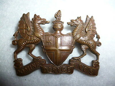 The City of London Volunteers Officer's Cap Badge, KK 1645, with Gaunt Tablet