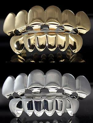 4 pc Gold & Silver Tone Grill Combo Set Top Bottom Custom Grillz w/Molds Teeth
