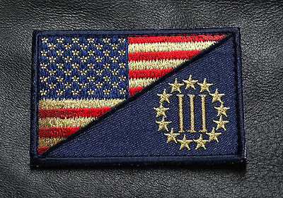 THREE 3% PERCENTER SUBDUED USA FLAG  2TH  3 percent MORALE HOOK LOOP PATCH