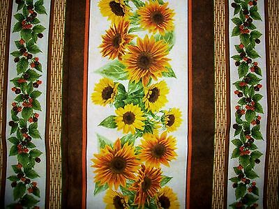 Sunflowers And Berries Cotton Quilt Fabric