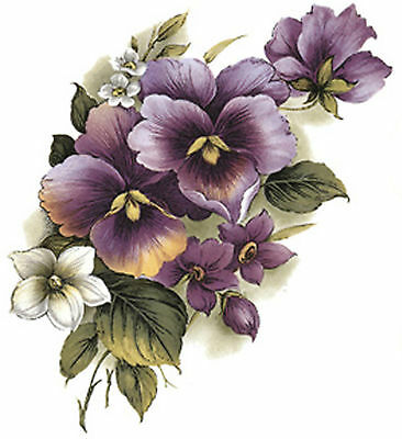 Purple Pansy Pansies Flower Spray Select-A-Size Waterslide Ceramic Decals Bx