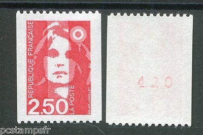 FRANCE 1991, timbre 2719a, type ROULETTE n° ROUGE MARIANNE BICENTENAIRE, neuf**