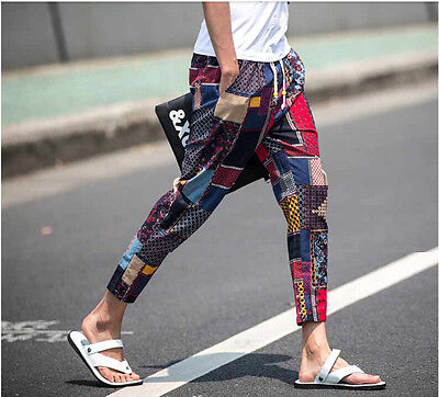 Mens Floral Slim Skinny Punk Trousers Mixed Color Pencil Strench Pants Hot S59