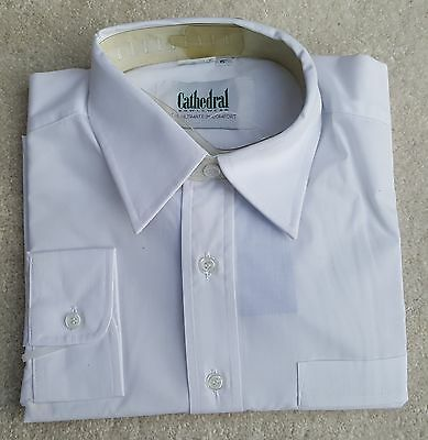 """CATHEDRAL Mens White Long Sleeved Casual Work Shirt Poly Cotton Size 15"""" Collar"""