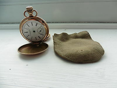 Gold Plated pocket watch Antique Vintage 1940 spares and repairs not tested bag