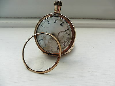 Gold Plated pocket watch Antique Vintage 1960 c spares and repairs not tested 9