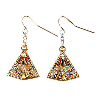 Egyptian Egypt Pyramid Open Winged Scarab Earrings. Set of 2. Fashion Jewelry