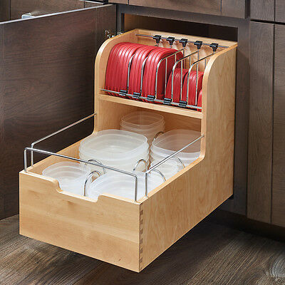 Rev-A-Shelf Wood Food Storage Container Organizer for Base Cabinets