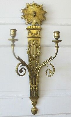 Antique 19th C. French Empire Gilt Bronze Candle Wall Sconce  c. 1870