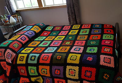 "Vintage Granny Square Afghan Crochet Heavy Warm Bed Size Full to Queen 82""x94"""