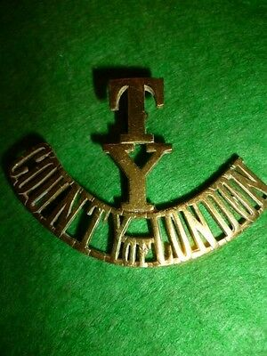 T/Y/County of London Yeomanry Brass Shoulder Title Badge, Scarce WW1 Badge