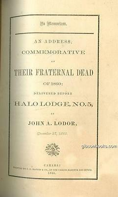 In Memoriam Address Commemorative of Their Dead 1860 Cahbra Alabama by Lodor