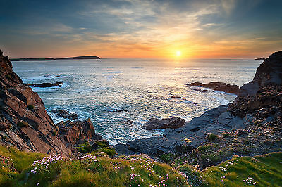 North Cornwall Rugged Coastline Beach Holiday Canvas Pictures Wall Art Prints