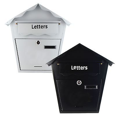 New Wall Mounted Steel Mailbox Lockable Outdoor Postbox Post Letterbox Mail Box