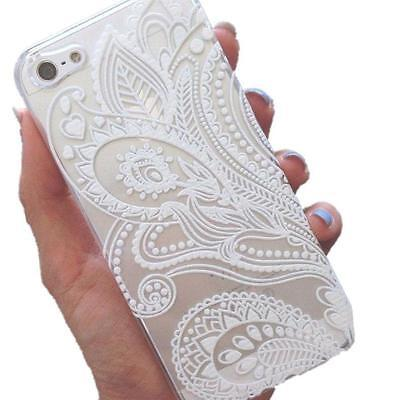 For iPhone 6 4.7 inch Case Fashion Henna White Floral Flower Plastic Cover Skin