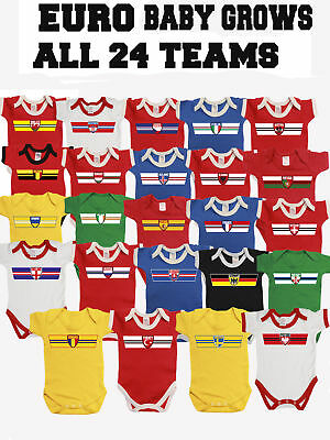 Baby Grow Retro Strip Style  EURO 2016 Football All 24 Countries *Choose Team*