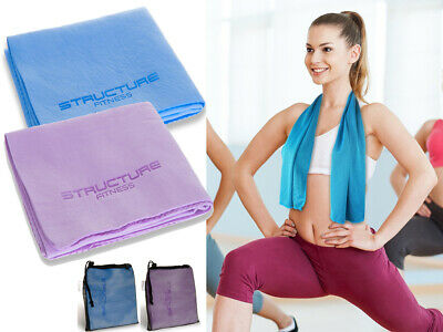 Structure Fitness Instant Cooling Sports Towel & Carry Bag Absorbs Sweat Gym Fit