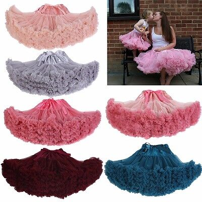 Adult Women Pettiskirt Baby Kids Girls Dancewear Chiffon Tutu Princess Skirt