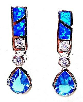 Silver 925 SF Hook Earrings 8mm /& 4mm Blue Lab Fire Opal Cabochons 1.5/""