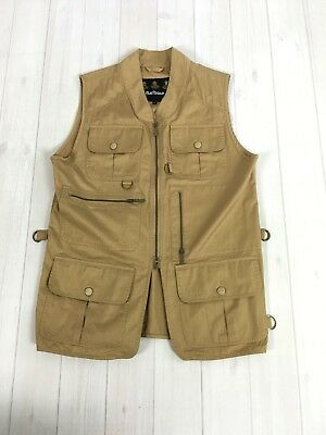 Barbour Gilet Vest Waistcoat in khaki tan size L hunting fishing sandstone sport