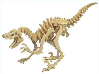 New Wood Assembly DIY Toy for 3D Wooden Model Puzzles of Velociraptor Dinosaur