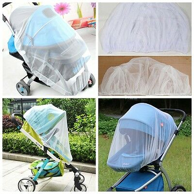 Cute Infants Baby Stroller Pushchair Mosquito Insect Net Safe Mesh Buggy White