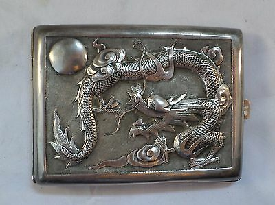 OLD Vintage EMBOSSED DRAGON CIGARETTE CASE PAO WEN CHENG STERLING SILVER Chinese