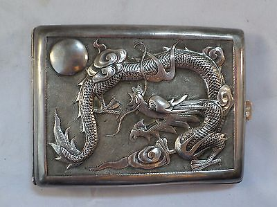 Rare Chinese Old Embossed Dragon Cigarette Case Pao Wen Cheng Sterling Silver