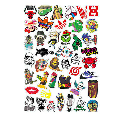 Adorable 50PCS Stickers Skateboard Sticker Graffiti Laptop Luggage Car Decal Lot