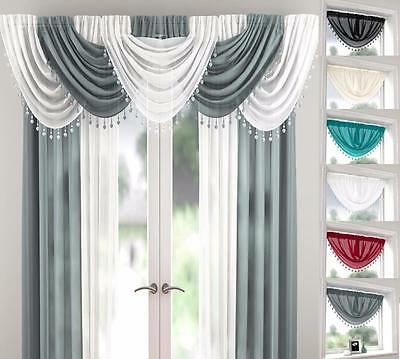 MILLIE SHEER VOILE BEADED SWAG WITH HEART BEADS x1 Drape Pelmet Valance