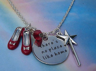 There's No Place Like Home Charms Necklace Wizard Of Oz Magic Wand Ruby Slippers