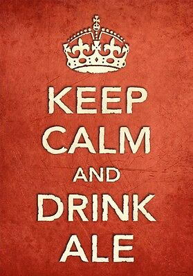KCV4 Vintage Style Union Jack Keep Calm Drink Beer Funny Poster Print A2//A3//A4