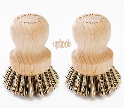 2 x Eddingtons Pot Scrubbing Brush With Stiff Plant Fibre Bristles Tough Scrub