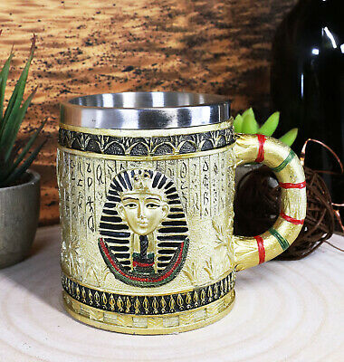Egyptian Theme Dynasty Pharaoh King Tut Mask Bust Coffee Cup Mug Beer Tankard