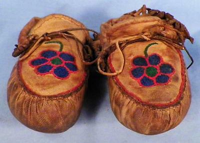 Victorian Childs Shoes Moccasins Tan Leather Hand Stitched Doll Edwardian HH