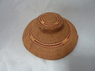 """Native American Weave Rattle Basket Lid/Cover. Nice Design. Appx 1.5"""" T, 4"""" D"""