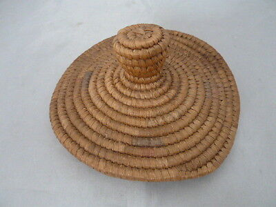 """Native American Weave Basket Lid/Cover. Nice Design. Approx. 5.75"""" D"""