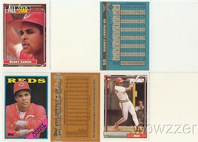Rare Lot of (9) Different Topps Barry Larkin ERROR CARDS from 1987-1992