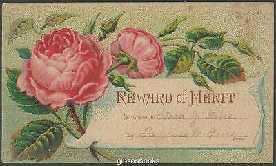 Victorian Reward of Merit Card with Bright Pink Roses and Names