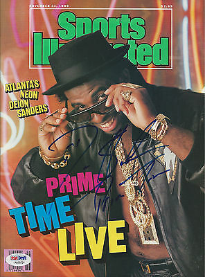 DEION SANDERS (Falcons) Signed SPORTS ILLUSTRATED with PSA COA (NO Label)