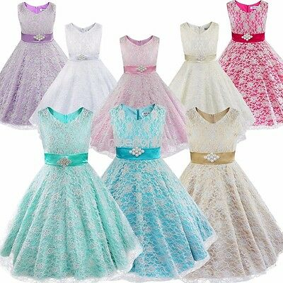 Flower Girl Birthday Pageant Wedding Party Formal Princess Kids Baby Lace Dress