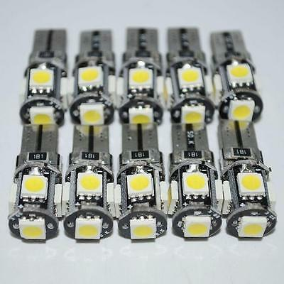 10PCS White Led Free Canbus Error 5 SMD Car Wedge light Bulb 168 194 T10/W5W New