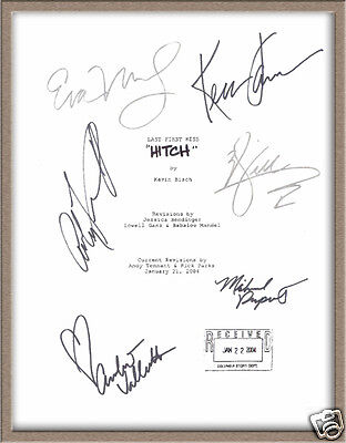 "Will Smith Eva Mendes Kevin James Amber Valletta Signed X6 ""hitch"" Script Rpt"