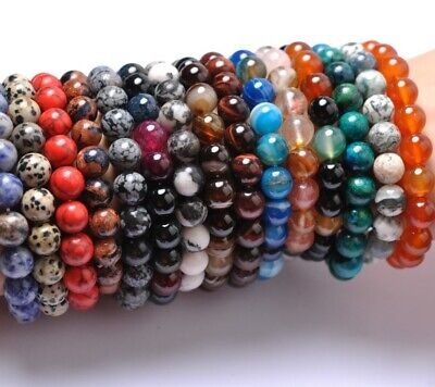 New Fashion 6MM Natural Gemstone Round Beads Stretchy Bracelets