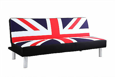 Modern Cool Union Jack British Flag Fabric 2 / 3 Seater Small Sofa Bed