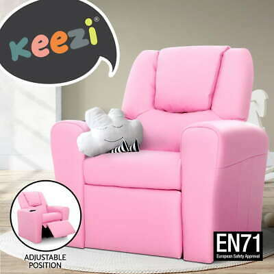 Luxury Kids Recliner Sofa Children Lounge Chair Padded PU Leather Arms Pink